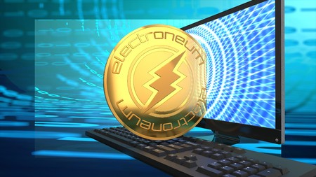 Electroneum currency, digital cyber coin symbolized by a golden coin and a computer screen. Stock Photo