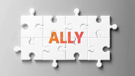 Aliado complejo como un rompecabezas: representado como la palabra Aliado en las piezas de un rompecabezas para mostrar que Ally puede ser difícil y necesita piezas cooperativas que encajen, ilustración 3d Foto de archivo