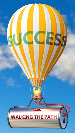 Walking the path and success - shown as word Walking the path on a fuel tank and a balloon, to symbolize that Walking the path contribute to success in business and life, 3d illustration 스톡 콘텐츠