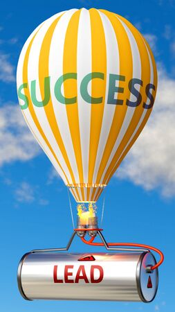 Lead and success - shown as word Lead on a fuel tank and a balloon, to symbolize that Lead contribute to success in business and life, 3d illustration