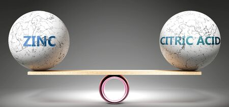 Zinc and citric acid in balance - pictured as balanced balls on scale that symbolize harmony and equity between Zinc and citric acid that is good and beneficial., 3d illustration