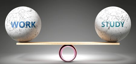 Work and study in balance - pictured as balanced balls on scale that symbolize harmony and equity between Work and study that is good and beneficial., 3d illustration