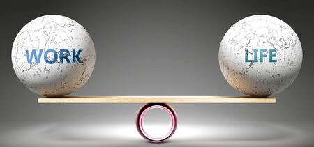 Work and life in balance - pictured as balanced balls on scale that symbolize harmony and equity between Work and life that is good and beneficial., 3d illustration Banco de Imagens