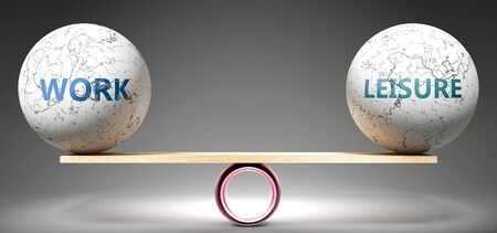 Work and leisure in balance - pictured as balanced balls on scale that symbolize harmony and equity between Work and leisure that is good and beneficial., 3d illustration