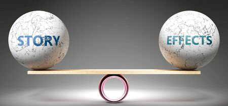 Story and effects in balance - pictured as balanced balls on scale that symbolize harmony and equity between Story and effects that is good and beneficial., 3d illustration