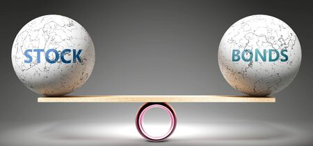 Stock and bonds in balance - pictured as balanced balls on scale that symbolize harmony and equity between Stock and bonds that is good and beneficial., 3d illustration Zdjęcie Seryjne
