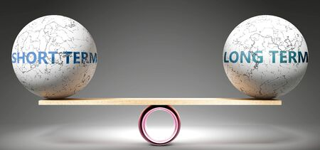 Short term and long term in balance - pictured as balanced balls on scale that symbolize harmony and equity between Short term and long term that is good and beneficial., 3d illustration Stock fotó