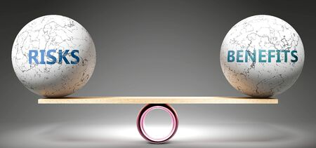 Risks and benefits in balance - pictured as balanced balls on scale that symbolize harmony and equity between Risks and benefits that is good and beneficial., 3d illustration