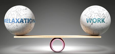 Relaxation and work in balance - pictured as balanced balls on scale that symbolize harmony and equity between Relaxation and work that is good and beneficial., 3d illustration