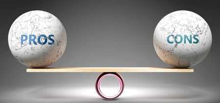 Pros and cons in balance - pictured as balanced balls on scale that symbolize harmony and equity between Pros and cons that is good and beneficial., 3d illustration Archivio Fotografico
