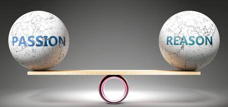 Leidenschaft und Vernunft im Gleichgewicht - dargestellt als ausgewogene Kugeln im Maßstab, die Harmonie und Gerechtigkeit zwischen Leidenschaft und Vernunft symbolisieren, die gut und nützlich sind., 3D-Illustration Standard-Bild