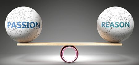 Passion and reason in balance - pictured as balanced balls on scale that symbolize harmony and equity between Passion and reason that is good and beneficial., 3d illustration Reklamní fotografie