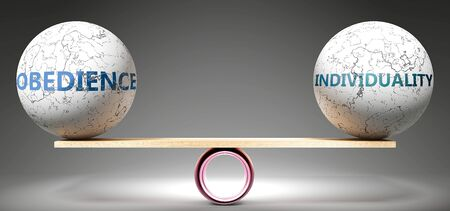 Obedience and individuality in balance - pictured as balanced balls on scale that symbolize harmony and equity between Obedience and individuality that is good and beneficial., 3d illustration Stock Photo