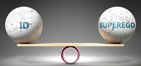 Id and superego in balance - pictured as balanced balls on scale that symbolize harmony and equity between Id and superego that is good and beneficial., 3d illustration