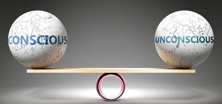 Conscious and unconscious in balance - pictured as balanced balls on scale that symbolize harmony and equity between Conscious and unconscious that is good and beneficial., 3d illustration