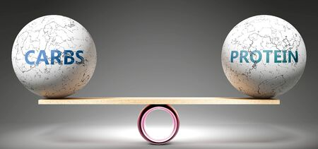 Carbs and protein in balance - pictured as balanced balls on scale that symbolize harmony and equity between Carbs and protein that is good and beneficial., 3d illustration