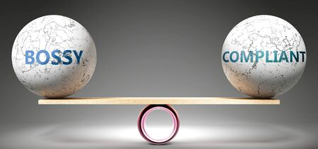 Bossy and compliant in balance - pictured as balanced balls on scale that symbolize harmony and equity between Bossy and compliant that is good and beneficial., 3d illustration