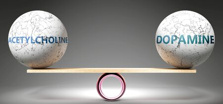 Acetylcholine and dopamine in balance - pictured as balanced balls on scale that symbolize harmony and equity between Acetylcholine and dopamine that is good and beneficial., 3d illustration