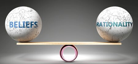 Beliefs and rationality in balance - pictured as balanced balls on scale that symbolize harmony and equity between Beliefs and rationality that is good and beneficial., 3d illustration 版權商用圖片