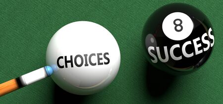 Choices brings success - pictured as word Choices on a pool ball, to symbolize that Choices can initiate success, 3d illustration Imagens