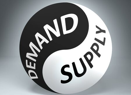 Demand and supply in balance - pictured as words Demand, supply and yin yang symbol, to show harmony between Demand and supply, 3d illustration