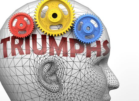 Triumphs and human mind - pictured as word Triumphs inside a head to symbolize relation between Triumphs and the human psyche, 3d illustration