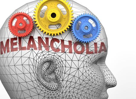 Melancholia and human mind - pictured as word Melancholia inside a head to symbolize relation between Melancholia and the human psyche, 3d illustration