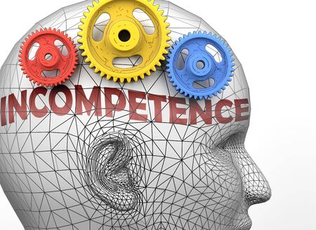 Incompetence and human mind - pictured as word Incompetence inside a head to symbolize relation between Incompetence and the human psyche, 3d illustration