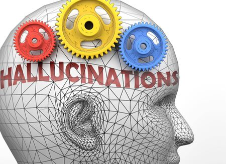 Hallucinations and human mind - pictured as word Hallucinations inside a head to symbolize relation between Hallucinations and the human psyche, 3d illustration Stock Photo