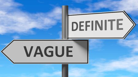 Vague and definite as a choice - pictured as words Vague, definite on road signs to show that when a person makes decision he can choose either Vague or definite as an option, 3d illustration