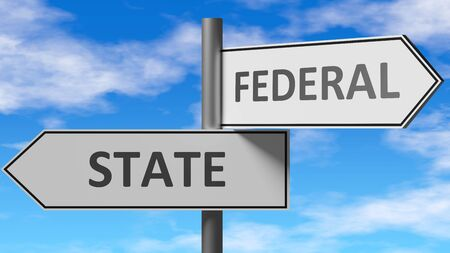 State and federal as a choice - pictured as words State, federal on road signs to show that when a person makes decision he can choose either State or federal as an option, 3d illustration 스톡 콘텐츠