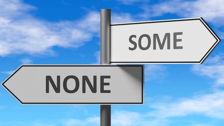 None and some as a choice - pictured as words None, some on road signs to show that when a person makes decision he can choose either None or some as an option, 3d illustration 스톡 콘텐츠