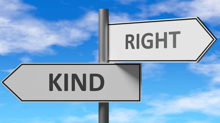 Kind and right as a choice - pictured as words Kind, right on road signs to show that when a person makes decision he can choose either Kind or right as an option, 3d illustration 스톡 콘텐츠