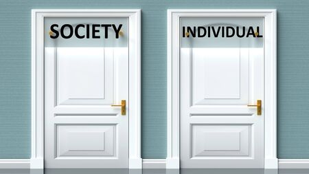 Society and individual as a choice - pictured as words Society, individual on doors to show that Society and individual are opposite options while making decision, 3d illustration