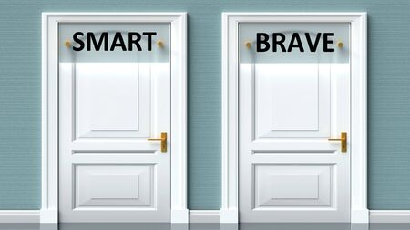 Smart and brave as a choice - pictured as words Smart, brave on doors to show that Smart and brave are opposite options while making decision, 3d illustration