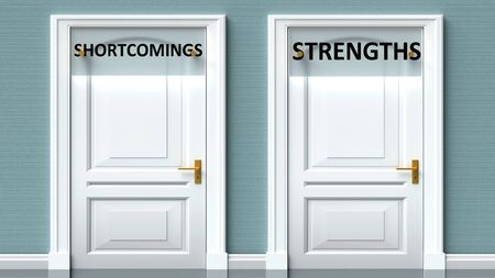 Shortcomings and strengths as a choice - pictured as words Shortcomings, strengths on doors to show that Shortcomings and strengths are opposite options while making decision, 3d illustration