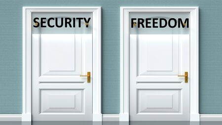 Security and freedom as a choice - pictured as words Security, freedom on doors to show that Security and freedom are opposite options while making decision, 3d illustration 写真素材