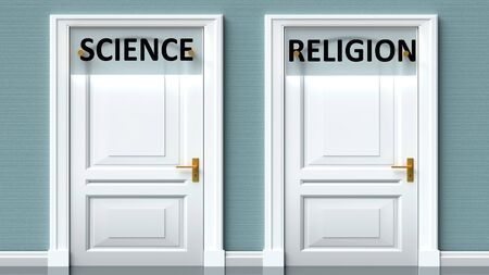 Science and religion as a choice - pictured as words Science, religion on doors to show that Science and religion are opposite options while making decision, 3d illustration