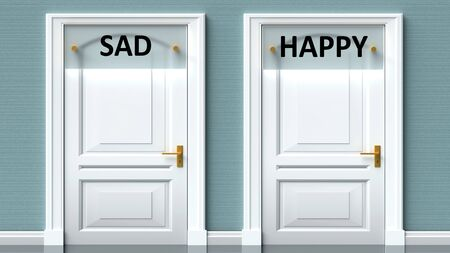 Sad and happy as a choice - pictured as words Sad, happy on doors to show that Sad and happy are opposite options while making decision, 3d illustration