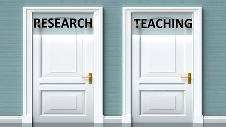 Research and teaching as a choice - pictured as words Research, teaching on doors to show that Research and teaching are opposite options while making decision, 3d illustration