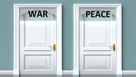War and peace as a choice - pictured as words War, peace on doors to show that War and peace are opposite options while making decision, 3d illustration