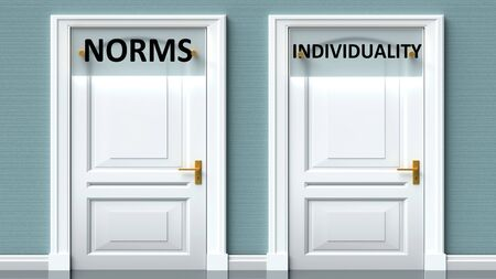 Norms and individuality as a choice - pictured as words Norms, individuality on doors to show that Norms and individuality are opposite options while making decision, 3d illustration 写真素材
