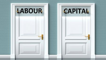 Labour and capital as a choice - pictured as words Labour, capital on doors to show that Labour and capital are opposite options while making decision, 3d illustration