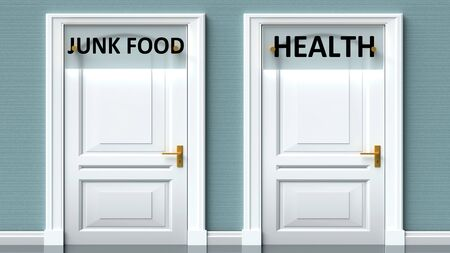 Junk food and health as a choice - pictured as words Junk food, health on doors to show that Junk food and health are opposite options while making decision, 3d illustration