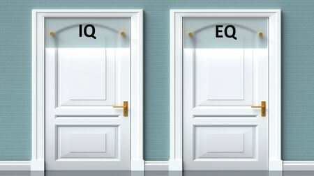 Iq and eq as a choice - pictured as words Iq, eq on doors to show that Iq and eq are opposite options while making decision, 3d illustration 写真素材