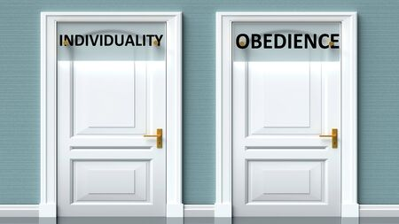 Individuality and obedience as a choice - pictured as words Individuality, obedience on doors to show that Individuality and obedience are opposite options while making decision, 3d illustration