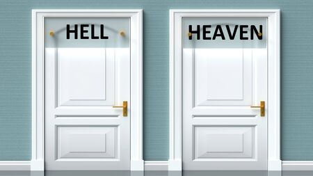Hell and heaven as a choice - pictured as words Hell, heaven on doors to show that Hell and heaven are opposite options while making decision, 3d illustration 写真素材