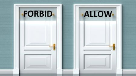 Forbid and allow as a choice - pictured as words Forbid, allow on doors to show that Forbid and allow are opposite options while making decision, 3d illustration 写真素材