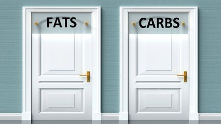 Fats and carbs as a choice - pictured as words Fats, carbs on doors to show that Fats and carbs are opposite options while making decision, 3d illustration