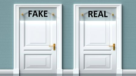 Fake and real as a choice - pictured as words Fake, real on doors to show that Fake and real are opposite options while making decision, 3d illustration 写真素材